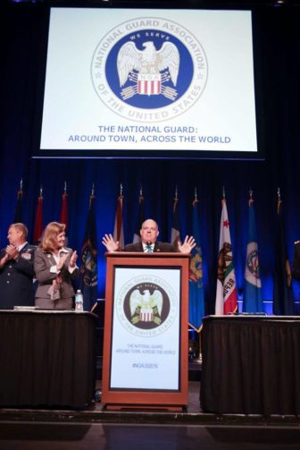 Gov. Larry Hogan greeted the National Guard conference on Saturday.