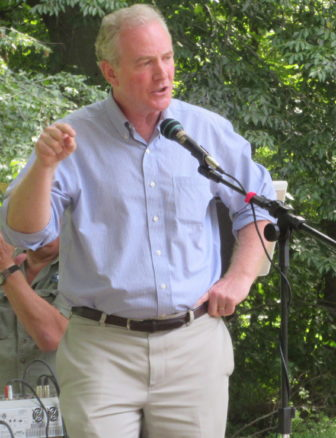 Rep. Chris Van Hollen talks to Howard County Democrats on Monday.