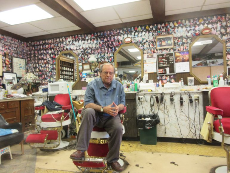 Tony Tringali in his barbershop.