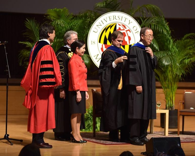 Departing U.N. Secretary General Ban Ki Moon on Friday received an honorary doctorate from the University of Maryland. From left, UMCP President Wallace Loh, System Chancellor Bob Caret
