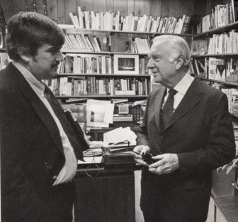 Len Lazarick, left, and CBS News anchor Walter Cronkite in Cronkite's office following an interview Sept. 26, 1980  in Cronkite's West 57th Street office. Cronkite was retiring that year. Photo by Paul Abel