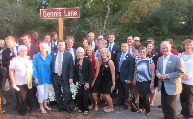 DENNIS LANE NAMED FOR DENNIS LANE: The late blogger and columnist Dennis Lane, brutally murdered three years ago, was honored with the naming of a road by the Merriweather Post Pavilion in Columbia. Lane, known for his wit, would have been amused and honored by a road near the Merriweather where he had his first job as a teenager and in the center of the revitalization of downtown Columbia he had championed. Howard County officials and friends pose near the road sign.