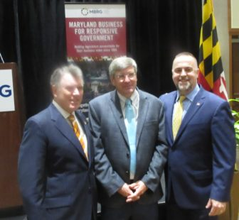 Maryland Business for Responsive Government chair Scott Dorsey of Merritt Properties, economist Steve Moore and MBRG President Duane Carey.