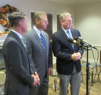 Speaking to reporters at the opiod summit in Clarksville Tuesday were from left, Harford County Executive Barry Glassman, Anne Arundel County Executive Steve Schuh and Howard County Executive Allan Kittleman. MarylandReporter.com photo.