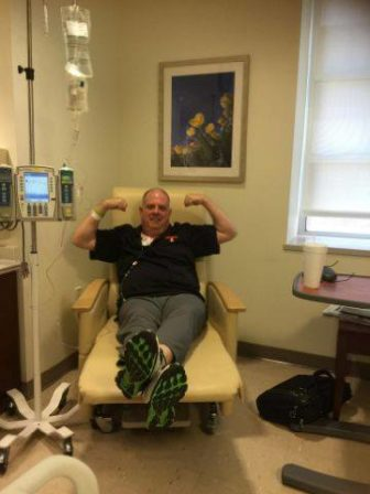 Gov. Larry Hogan got his last chemotherapy treatment for his cancer on Monday. From Hogan's Facebook page.