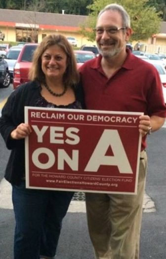Howard County Council members Jen Terrasa and Jon Weinstein, sponsors of the charter amendment. From Fair Elections Howard Facebook page.