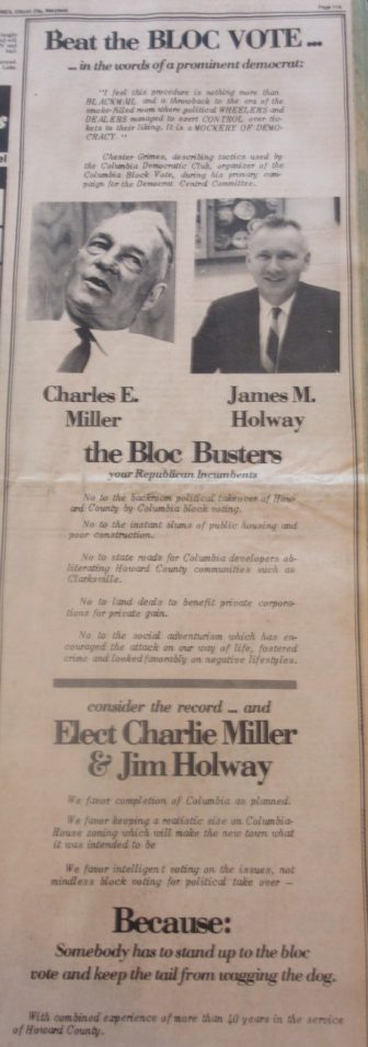 One of the anti-Columbia political ads that ran in the Howard County times in October 1974. Photo by Len Lazarick