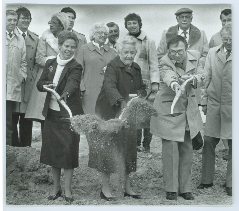 Howard County Council member Elizabeth Bobo, left; Florence Bain, chair of the county's Commission on Aging; and County Executive J. Hugh Nichols break ground for the senior center in Harper's Choice that was eventually named for Bain. Her son Henry Bain was the consultant on government affairs to the Rouse Co. as it was planning the early stages of Columbia. Photo courtesy of the Columbia Archives.