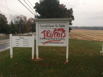 This sign at the Carroll Farm in Ellicott City was vandalized. The photo comes from Chris Merdon who runs the farm.