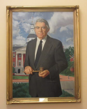 This portrait of Sen. James Clark Jr. hangs with those of other Senate presidents in the foyer of William James Senate Office Building in Annapolis. Photo by Len Lazarick