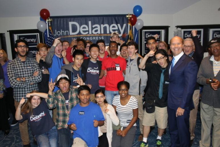 delaney-with-volunteers_2016-election-night