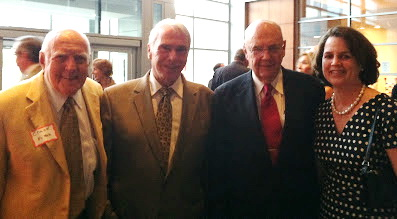 At a Columbia Foundation spring party in May 2012 were three former Howard County executives and an aspiring future executive, according to this photo probably taken on his cell phone by the late Business Monthly columnist and blogger Dennis Lane. From left, they are Chuck Ecker, Jim Robey, Ed Cochran, and his daughter, County Council member Courtney Watson, who ran for executive in 2014.