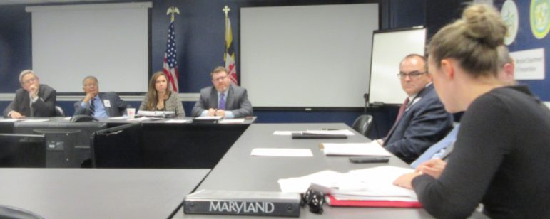 Redistricting Reform Commission meets Nov. 4. From left, commission co-chairs Wlter Olson,, Alexander Williams; governor's staff Ali Keane, legislative officer Matthew Palmer; Christopher Summers; Michael Goff (hidden); Ashley Oleson. MarylandReporter.com photo.