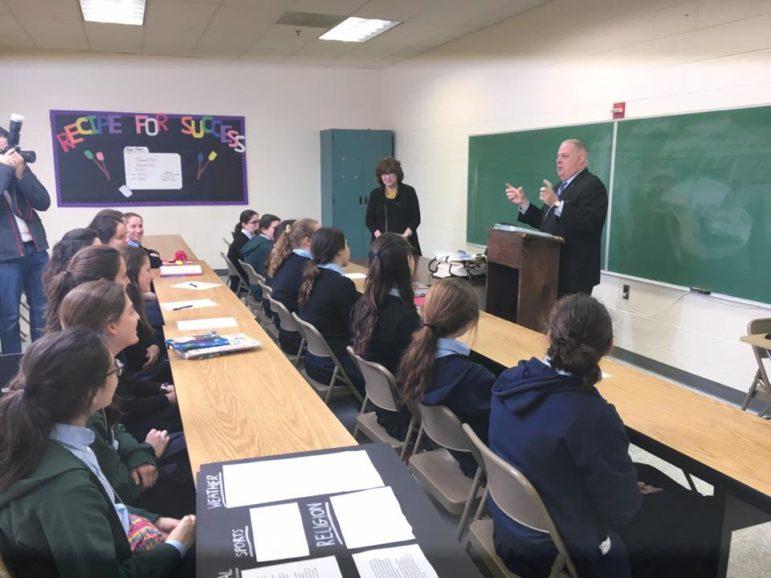 Gov. Larry Hogan talks to Bais Yaakov students where he made the BOOST announcement. Governor's Office photo