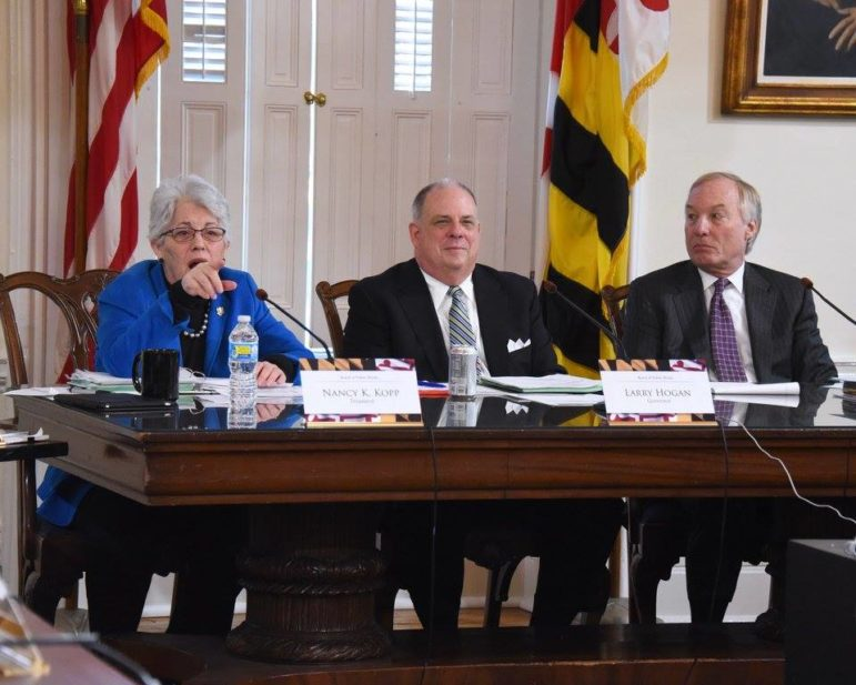 State Treasurer Nancy Kopp asks a question at Wednesday's Board of Public Works meeting with Gov. Larry Hogan and Comptroller Peter Franchot. Governor's Offic photo
