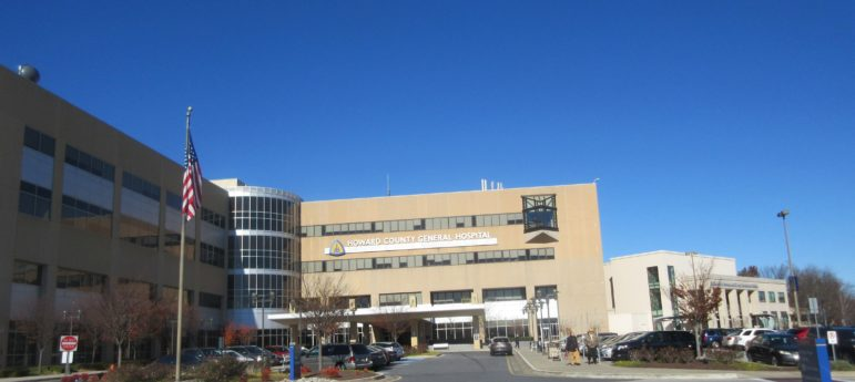 Howard County General Hospital today. Photo by Len Lazarick.