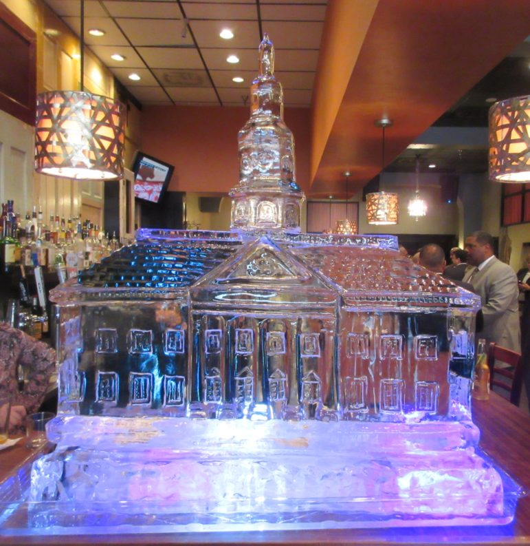 An ice sculpture of the State House in the Red Red Wine bar in Annapolis.
