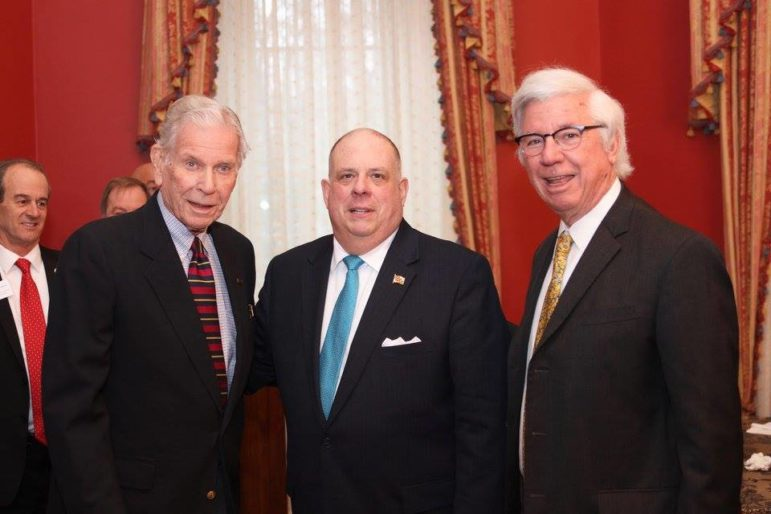 At a Government House reception after the speech, Gov. Larry Hogan attended the two former Democratic governors who attended the speech: Harry Hughes, left, and Parris Glendening, right. Governor's office photo.