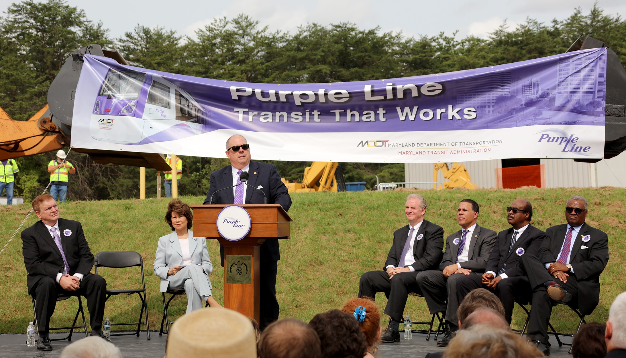 Democrats laud Hogan as they celebrate Purple Line start