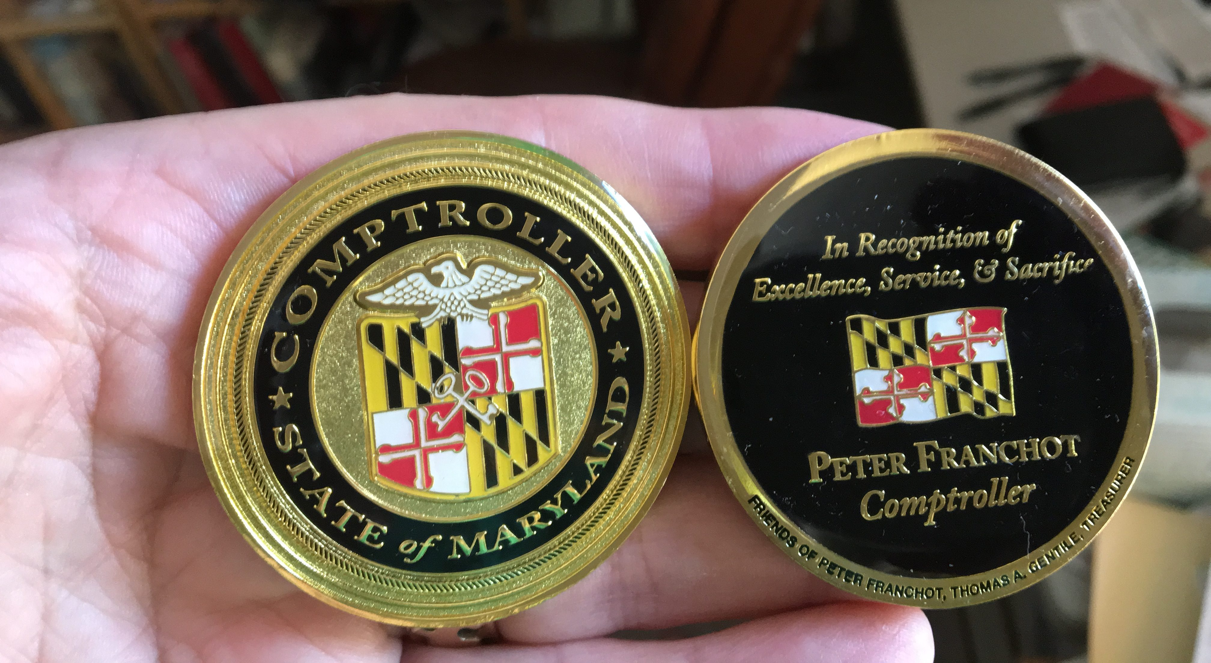 Franchot opponent claims ethics violation over comptroller coins