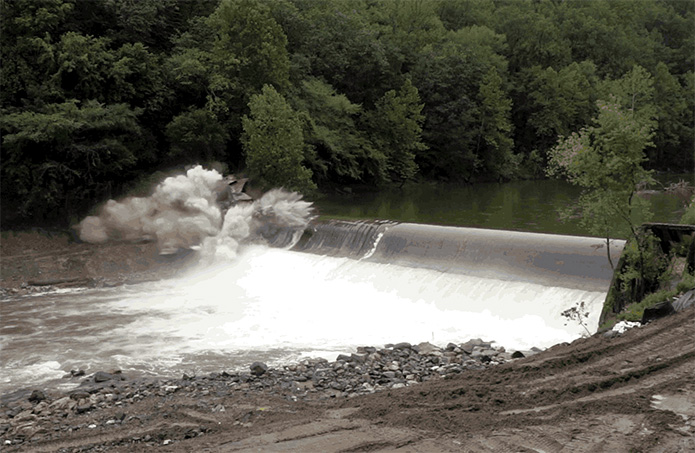 Bloede Dam removal blasts off in advance of storm