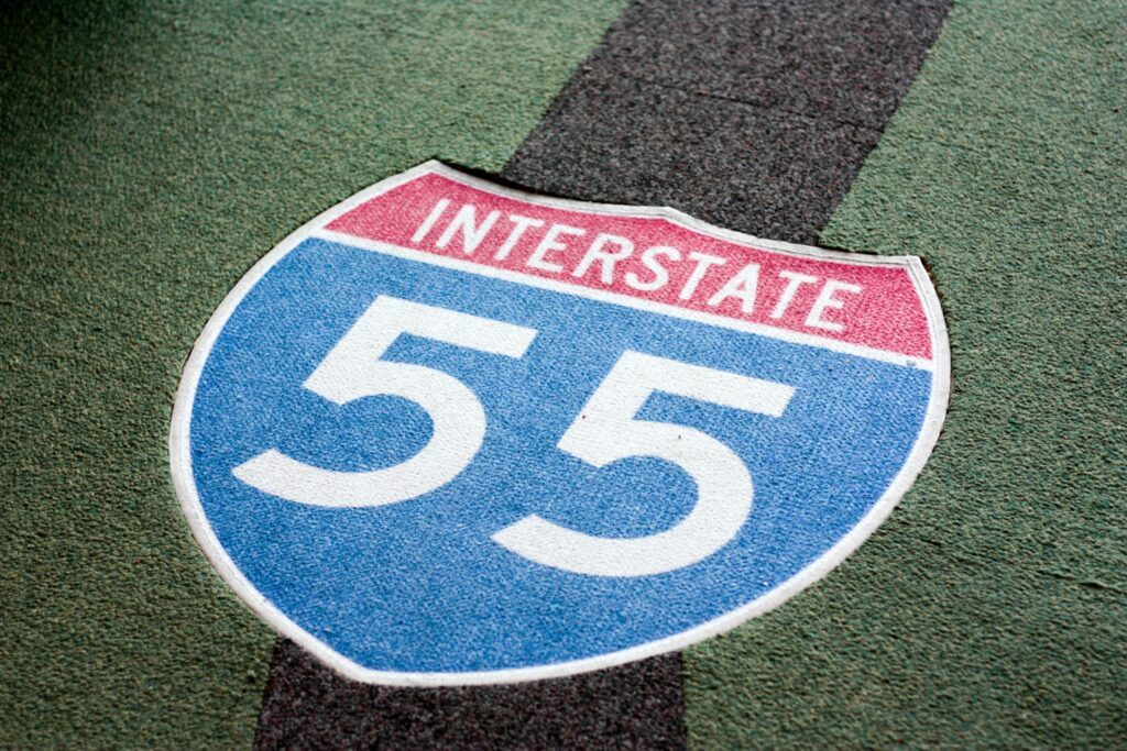 """Sign that says """"Interstate 55""""."""